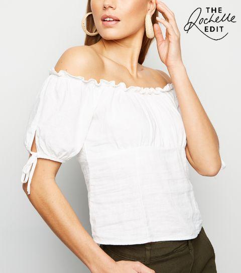 767a2b9d31cb ... White Linen Blend Tie Sleeve Milkmaid Top ...