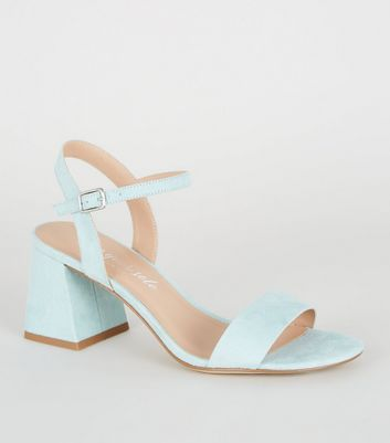 Mint Green Suedette Flared Block Heels