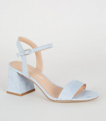 Pale Blue Suedette Flared Block Heels