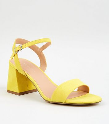 Yellow Suedette Flared Low Block Heels