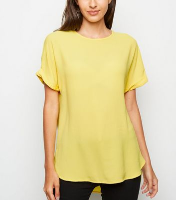 Yellow Crepe Rolled Sleeves T-Shirt