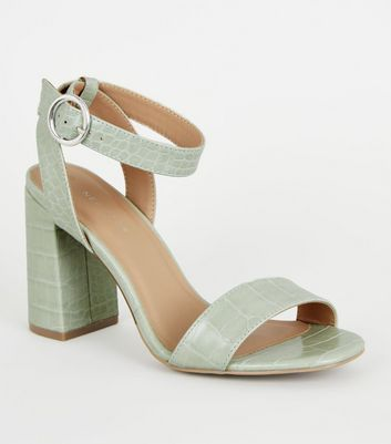 Mint Green Faux Croc Block Heel Sandals