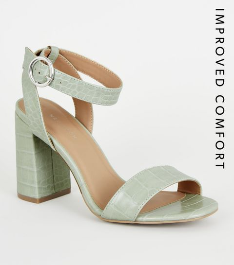 9b48695f6db ... Mint Green Faux Crock Block Heel Sandals ...