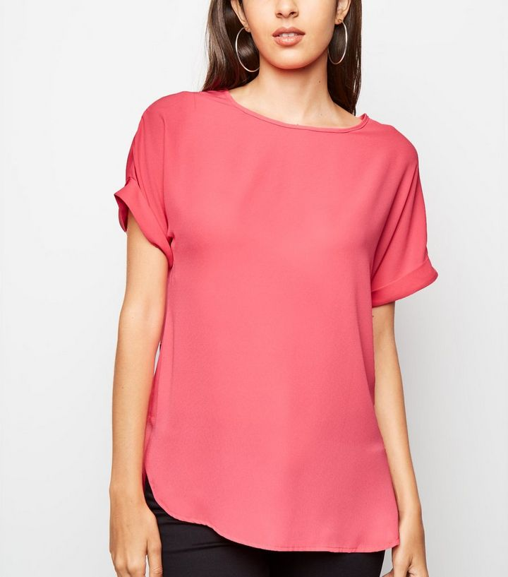 16c866d76a9 Bright Pink Roll Sleeve Chiffon Blouse Add to Saved Items Remove from Saved  Items