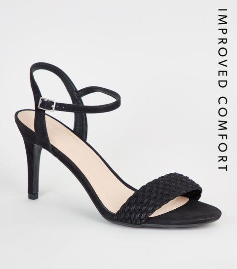 9dad1ed87a4 ... Suedette Woven Strap Stiletto Heels ...