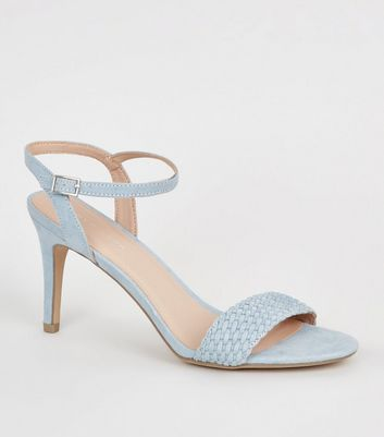 Pale Blue Suedette Woven Strap Stiletto Heels