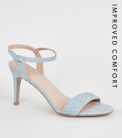 fcc0dc916fb ... Pale Blue Suedette Woven Strap Stilettos ...