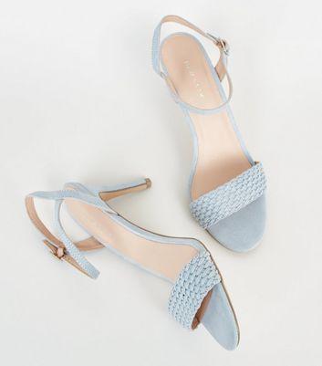 shop for Pale Blue Suedette Woven Strap Stilettos New Look at Shopo