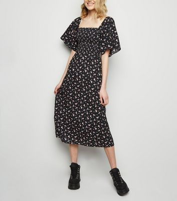 Black Floral Print Shirred Midi Dress