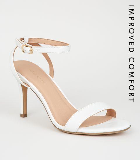 ... White Leather-Look 2 Part Stiletto Heels ... c359809880