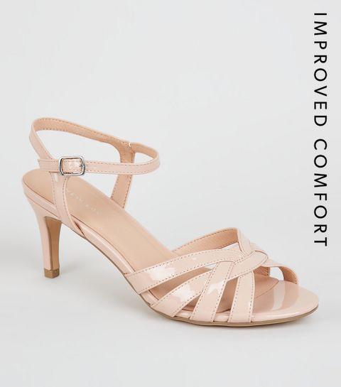 c1b978c7f0abdd ... Cream Patent Woven Strap Heels Sandals ...