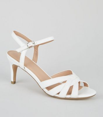 White Strappy Low Stiletto Sandals