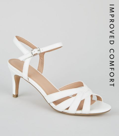White Strappy Low Stiletto Sandals · White Strappy Low Stiletto Sandals ...