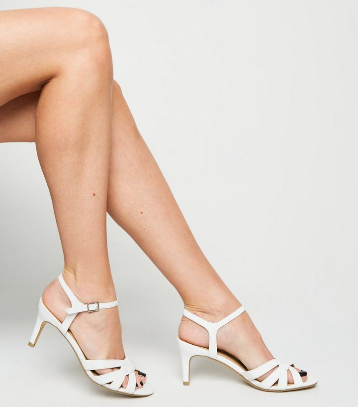 a7decc293712 ... White Strappy Low Stiletto Sandals. ×. ×. ×. Shop the look