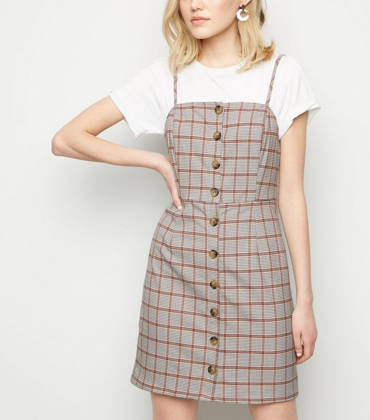 98991f35f26 White Houndstooth Button Front Pinafore Dress
