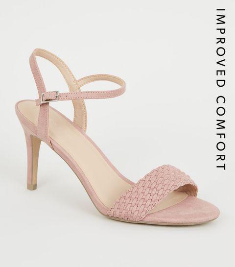 375e50176e11 ... Pink Suedette Woven Strap Stiletto Heels ...