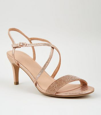 Rose Gold Shimmer Diamanté Strap Sandals
