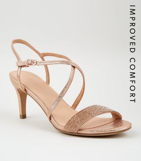 7683fe0452a ... Rose Gold Shimmer Diamanté Strap Sandals ...