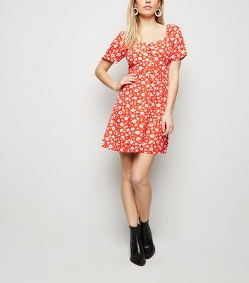 Red Floral Button Up Mini Dress