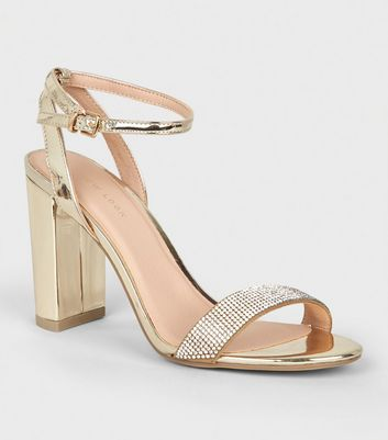 Metallic-High-Heels mit Blockabsatz und Strassriemen in Gold