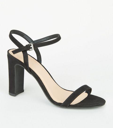 ... Black Suedette Slim Block Heel Sandals ... e40ad37075