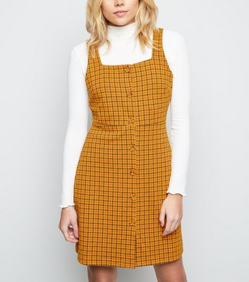 Orange Check Button Front Pinafore Dress
