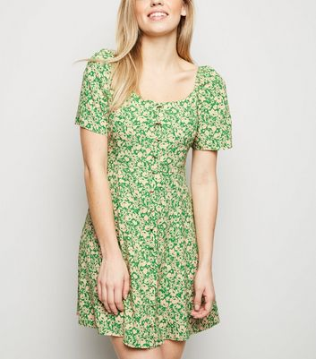 Green Floral Button Up Dress