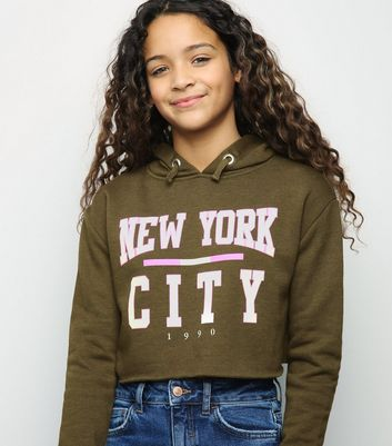 Girls Khaki New York Slogan Hoodie