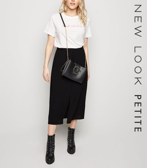 7727556c0ef ... Black Button Front Midi Skirt ...