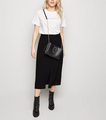 Black Button Front Midi Skirt by New Look