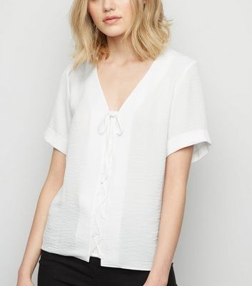 Tall Off White Lace Up Front Shirt
