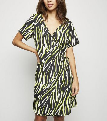 Tall Black Neon Zebra Print Wrap Dress