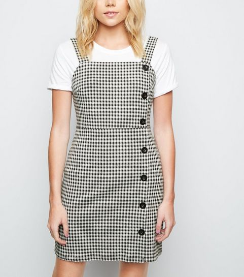 365a216979 ... Black Gingham Button Side Pinafore Dress ...