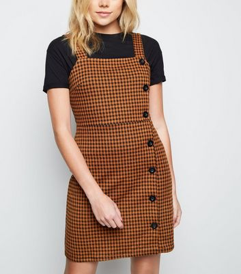 Brown Gingham Button Side Pinafore Dress