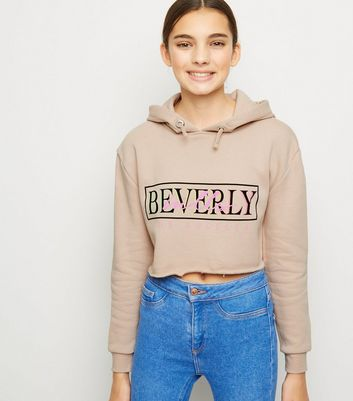 Girls - Sweat marron clair à capuche et à slogan Beverly Hills