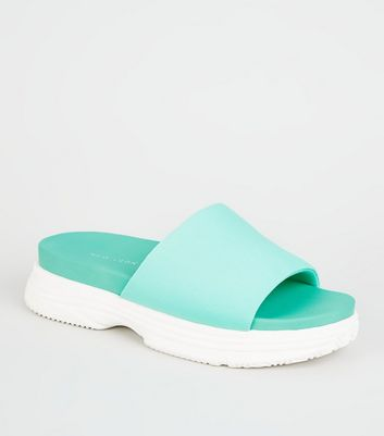 Pale Blue Chunky Sole Sporty Footbed Sliders