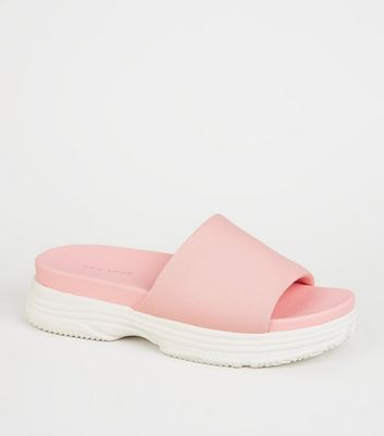 Pink Chunky Sole Sporty Footbed Sliders