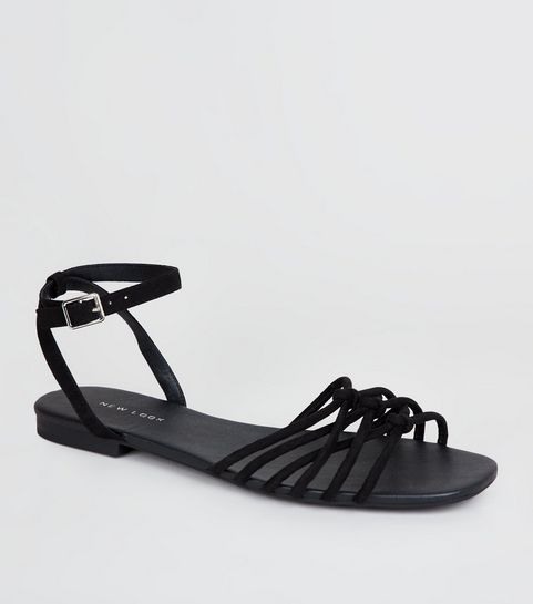 c44ffc60add ... Black Suedette Knot Front Strap Sandals ...