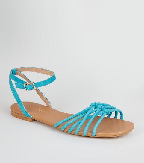 26c9a15f3b55 ... Teal Suedette Knot Front Strap Sandals ...