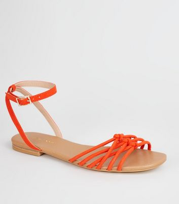 Orange Suedette Knot Front Strap Sandals