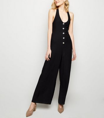 Black Twill Button Front Halterneck Jumpsuit