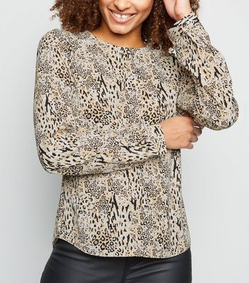 Tall Brown Leopard Print Button Back Top
