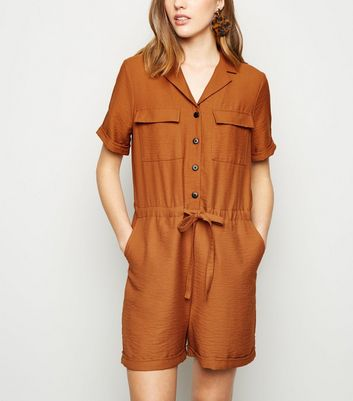 Rust Revere Collar Utility Playsuit