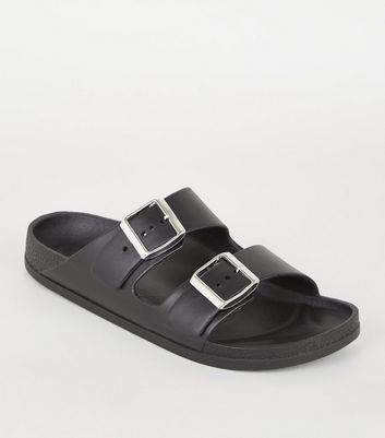 Black Leather-Look Buckle Strap Footbed Sliders