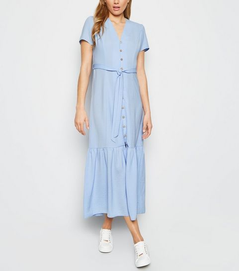 9a838d0f53e ... Pale Blue Herringbone Tiered Button Front Midi Dress ...