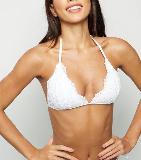 f74804b7a5b ... White Lace Triangle Bikini Top ...