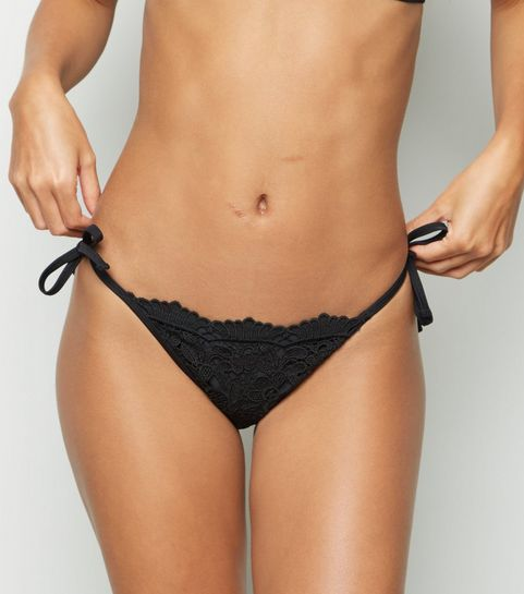 f6a93a98dd488 ... Black Lace Tie Side Bikini Bottoms ...