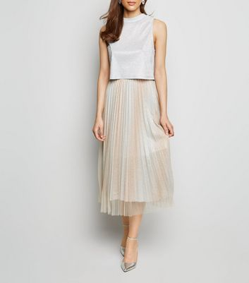 Cream Glitter Tulle Pleated Midi Skirt by New Look