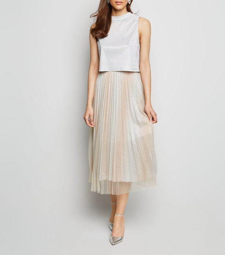 7c01700f1 Cream Glitter Tulle Pleated Midi Skirt | New Look