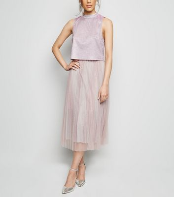 Pink Glitter Tulle Pleated Midi Skirt